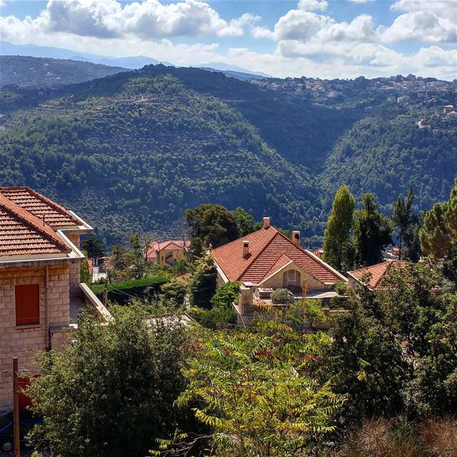 Checking out the scene and town across the valley on this bright Fall day.... (Chouf)