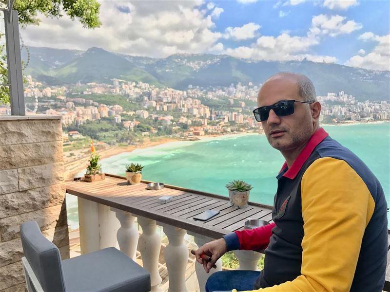 Lebanon 🇱🇧. morning view mountain beach coffee cigar lebanon zahleh... (Monte Cassino)