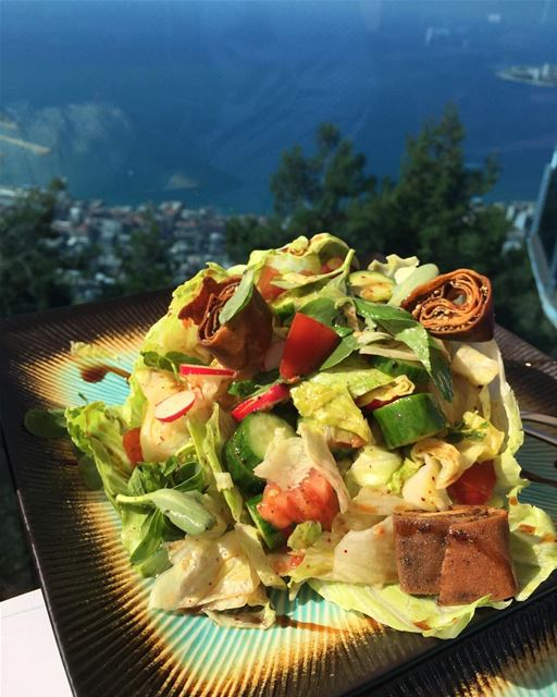 Fattouch with a beautiful view 🥗  yummy  fattouch  pomegranate  lebanon ...