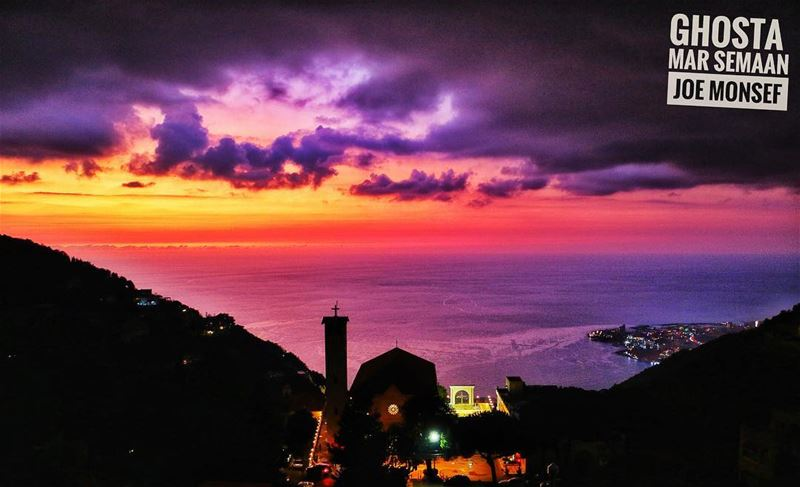 sunset  jounieh  lebanon  cute  romantic  sunset  color  church  sun ...