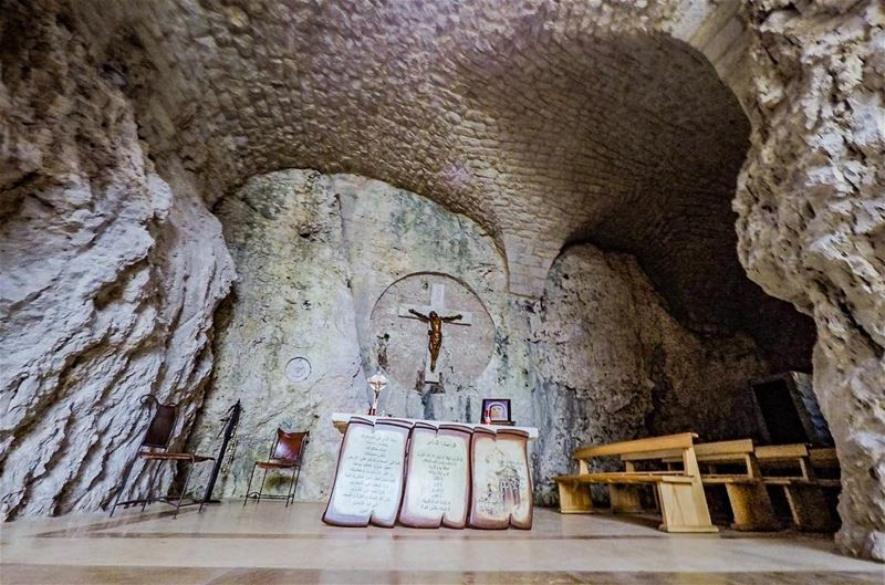 Church in a rock.......Happy Sunday. church rock tabrieh memories ... (غابة الشهيد، طبرية، رعشين)