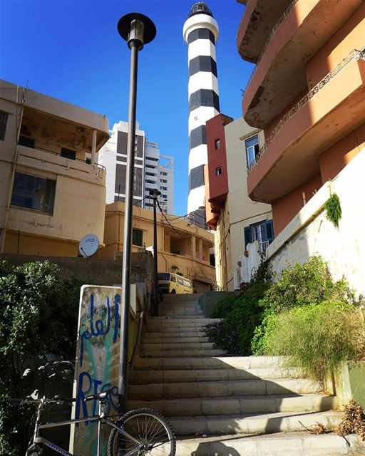 On the steps of the authentic lighthouse... a  landmark with a story to... (Beirut, Lebanon)