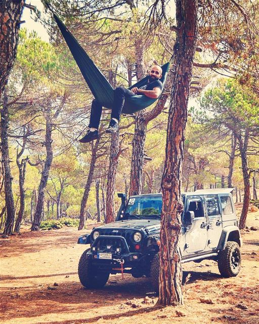 Chiling on another level 😎 hammock woods high adventure ... (Baskinta, Lebanon)