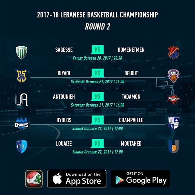 2017-18 Lebanese Basketball Championship - Round 2 - Schedule - Download...