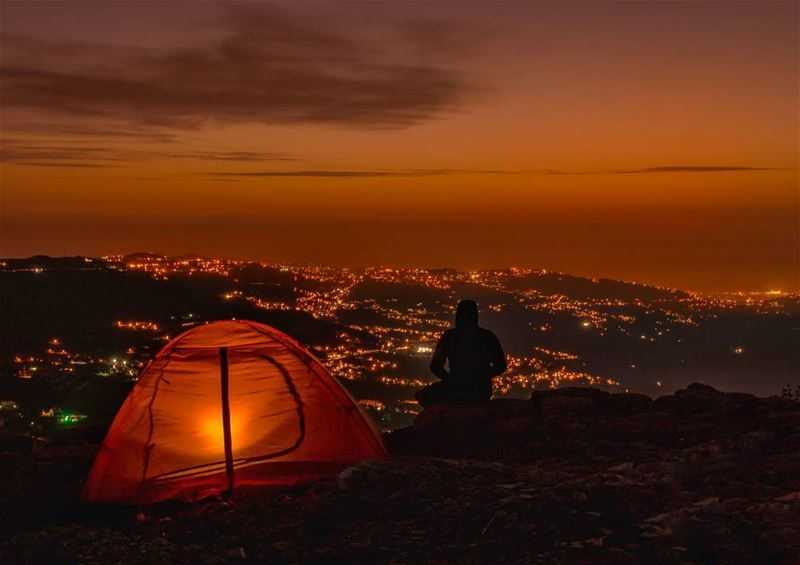 Find bliss Stay a while⛺..... camping camp tents tent sky sunset... (Falougha, Mont-Liban, Lebanon)