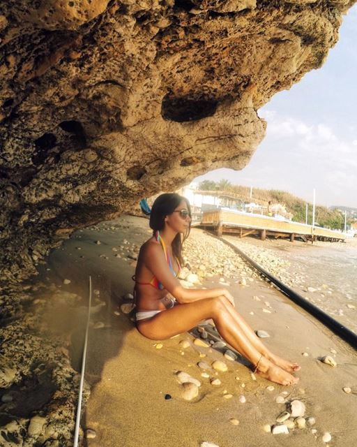Lying in the sand and listening to the waves 🌊💙 Throwback Summer ... (Byblos, Lebanon)