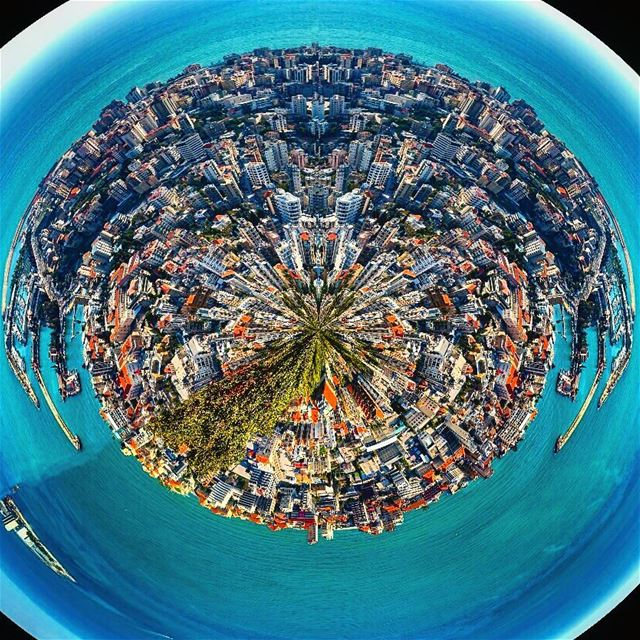 Little planet attempt littleplanet stereographic projection ... (Harîssa, Mont-Liban, Lebanon)