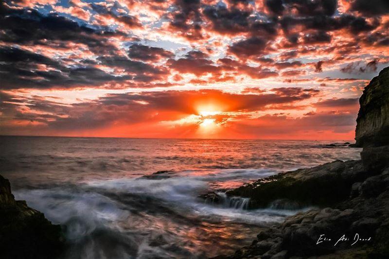 Good evening from amshit 🌅 sunset beach mediteranian sun rock ...