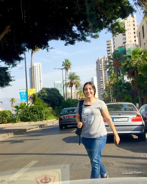 street photography this morning niece smiling Aub beirut...