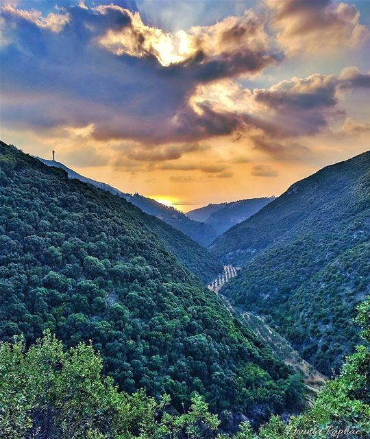 Harry looked down and saw deep green mountains and lakes, coppery in the... (Jrabta, Liban-Nord, Lebanon)