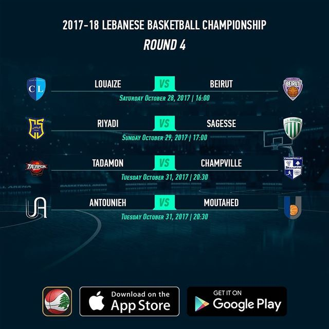 2017-18 Lebanese Basketball Championship - Round 4 - Schedule - Download...