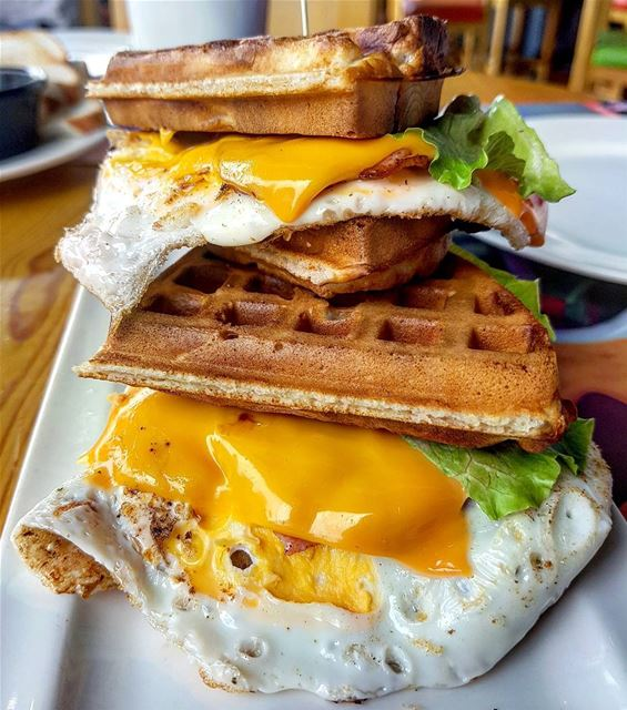 The Loaded Egg Bacon Cheese Waffle! (Buffalo Wings & Rings - Lebanon)