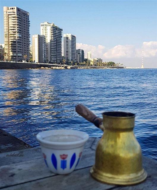 Coffee is served Goood morning weekend 💙By @nidal.majdalani ... (Ain El Mreisse, Beyrouth, Lebanon)