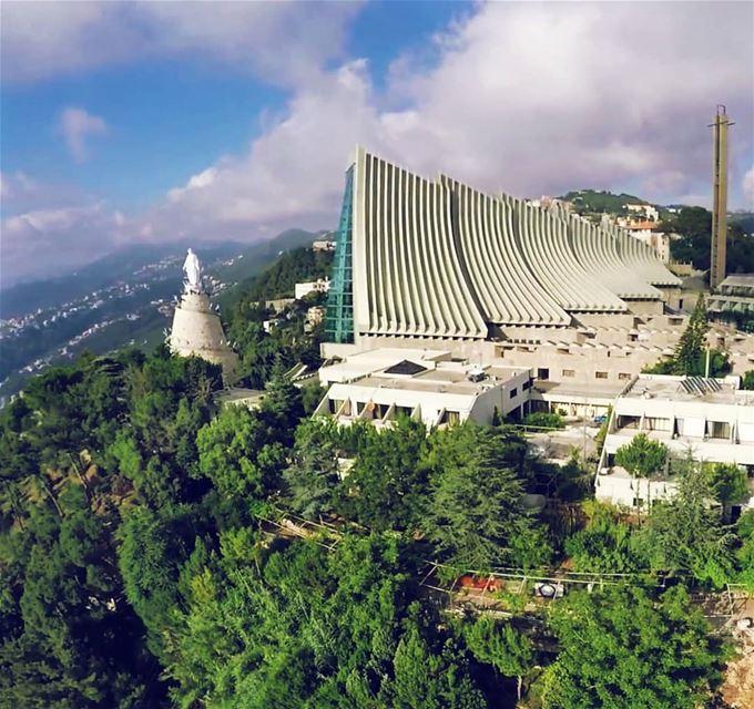 Loyalty 💛🙏🕆 harissa ourladyoflebanon serenity shrine jounieh ... (The Lady of Lebanon - Harissa)