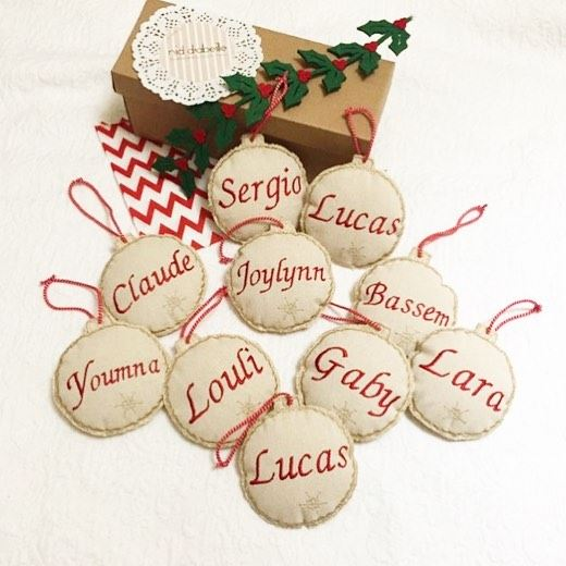 Personnalised tree ornaments 🎄Write it on fabric by nid d'abeille ...