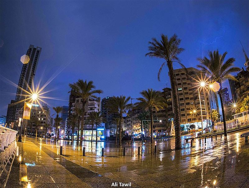 🌧 landscape rainydays rain fisheye nikon d810 reflection ... (Ain El Mreisse, Beyrouth, Lebanon)