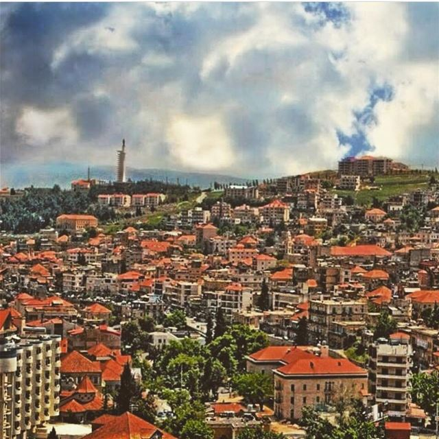 zahle lovely city missing old house brick color red cloud weather lebanon... (Zahlé, Lebanon)