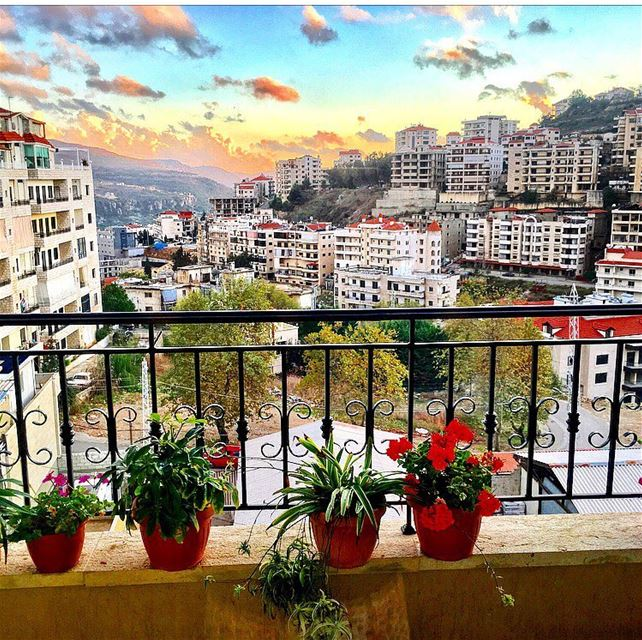 October flowers 🌸💕 Autumn october balcony sky view flowers ... (Aley)