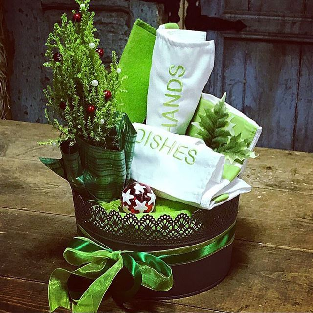 GO GREEN 🎄Write it on fabric by nid d'abeille  basket  kitchen  linen ...