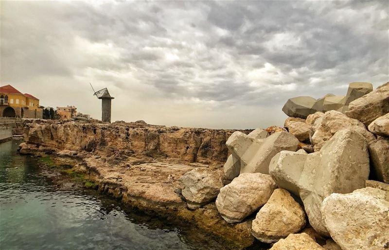 Ancient........ batroun rocks clouds old house stormy ... (Batroûn)
