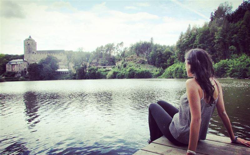 The castle 🏰💫 dreaming girl by the lake kostcastle bohemia ... (Kost Castle)