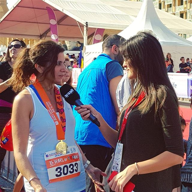 Live TV Interview on New TV at the Beirut Marathon Finish Line. Yes I did... (Beirut Marathon)