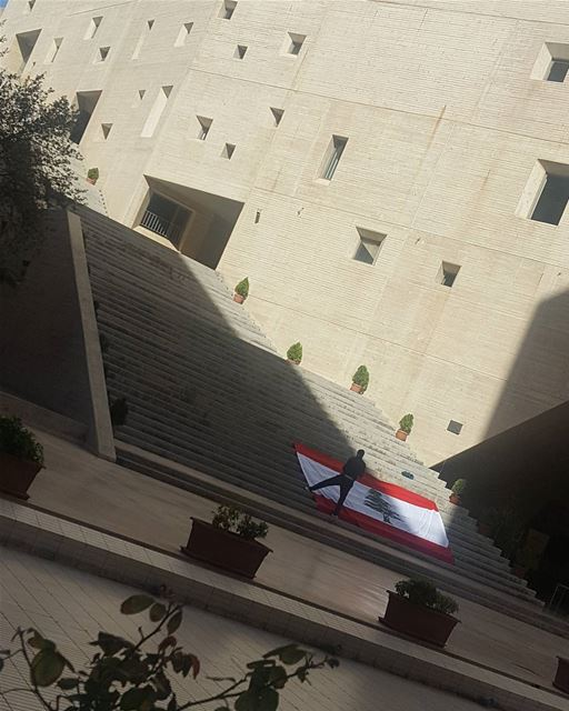 Always and Forever🇱🇧🇱🇧🇱🇧... earlymorning Lebanon flag ... (Campus de l'Innovation et du Sport - USJ)
