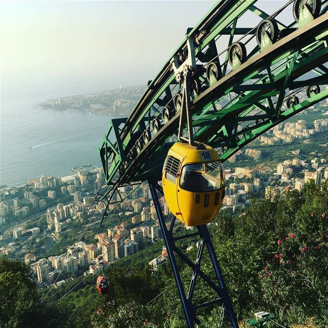 Arriving in Harissa to visit Our Lady of Lebanon by telefrique Lebanon ... (Telefrique Harrisa)