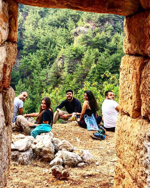 In this picture you will observe a pack of hikers in their natural... (Ouâdi Qannoûbîne, Liban-Nord, Lebanon)