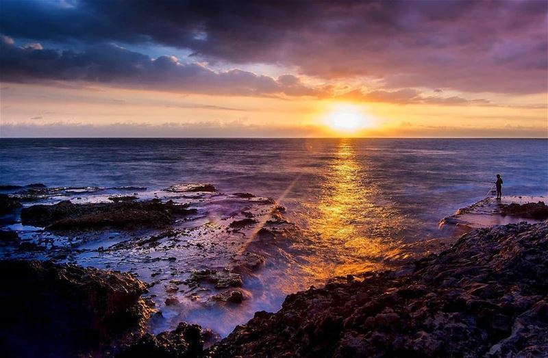 fishing sunset sea sky clouds rocks byblos lebanon snapshot ... (Byblos, Lebanon)