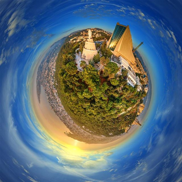 harisa the tinyplanet see the full 360 photo on my Facebook page (link... (Harisa, Mont-Liban, Lebanon)