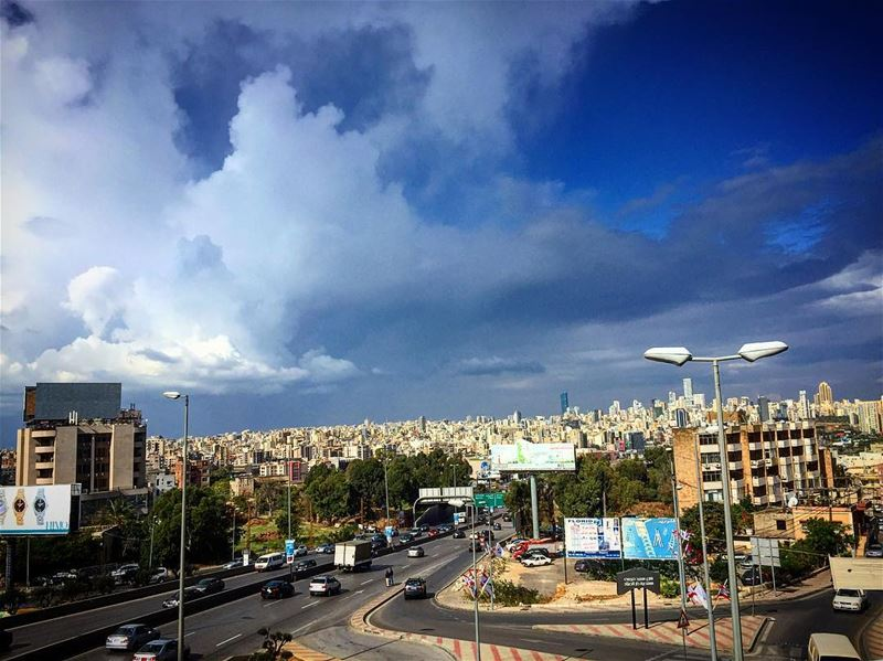 Good Morning from beirut 💙(View from Hazmieh) sunday morning sky ... (Beirut, Lebanon)