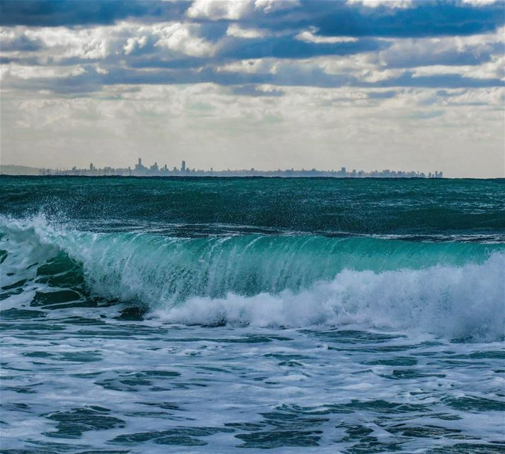 Beirut skyline as seen from Jbeil storm waves clouds rain nature ...