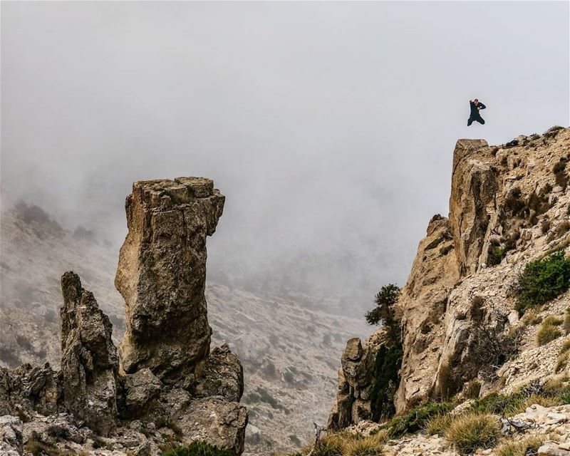 Up and Up 🙌 jump  cliff  rocks  fog  hike  nature  outdoors  sports ...