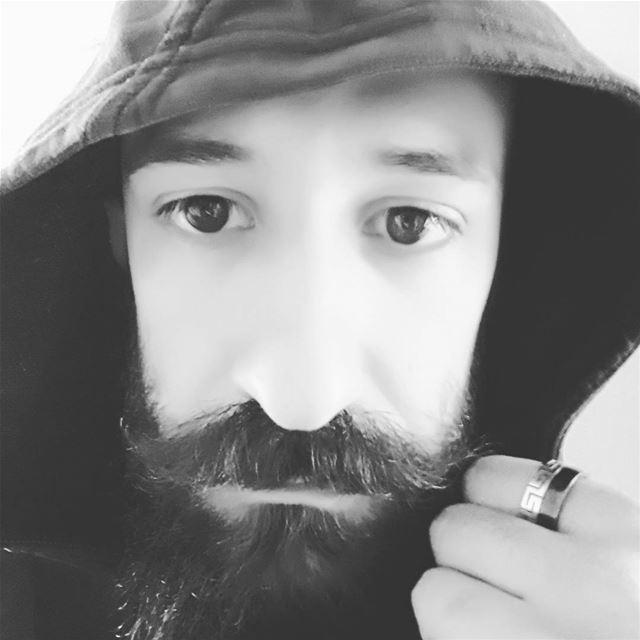 profile moustache pogonophile bnw blackandehite face selfie hoody ... (Sinn Al Fil, Mont-Liban, Lebanon)