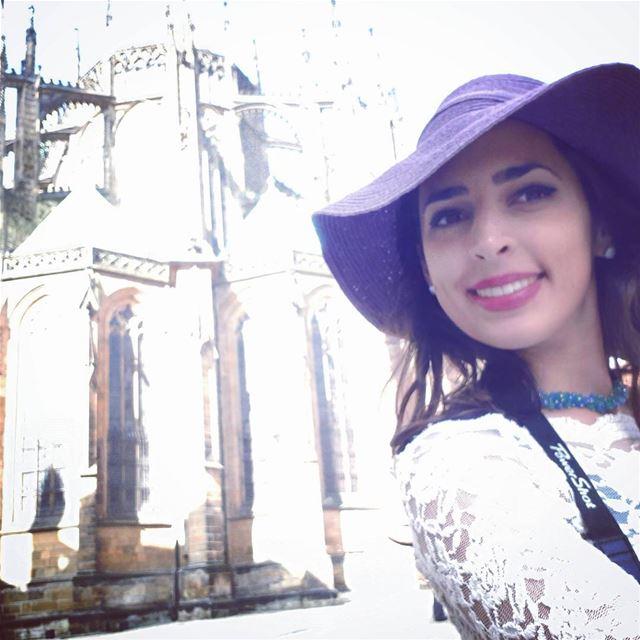 Hello Gothic 🖤 architecture style prague castle saintvitus girl ... (St. Vitus Cathedral)