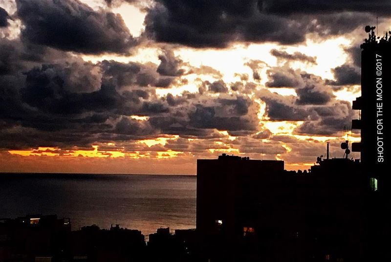 Winter sky at sunset photooftheday photography boost sky sea colors ... (Beirut, Lebanon)