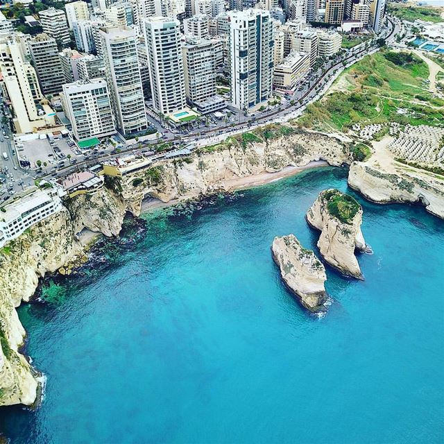 B E I R U T - Raouche rocks from above 🇱🇧 💙By @nagsm AboveBeirut ... (Beirut, Lebanon)