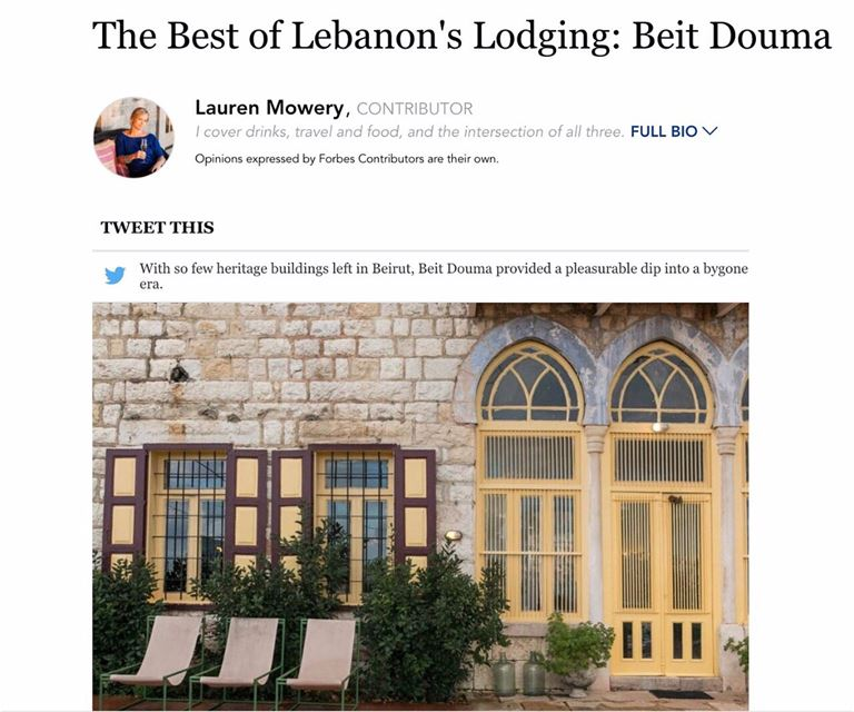@Forbes lists BeitDouma as one of Lebanon's best lodging. We loved...