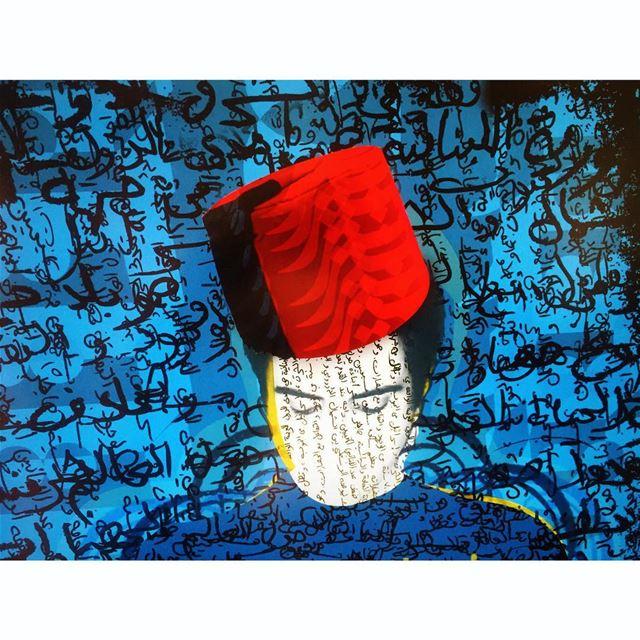 انا مع نفسي .... moi me art poster oriental tarboosh blue red ...