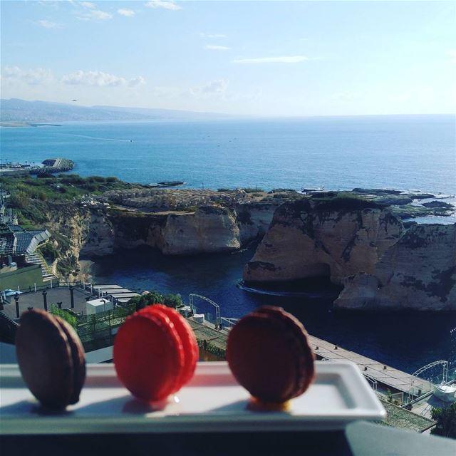 Don't say no to macron sweet goodmorning sea view sun winter rock... (Rotana Hotels Lebanon)