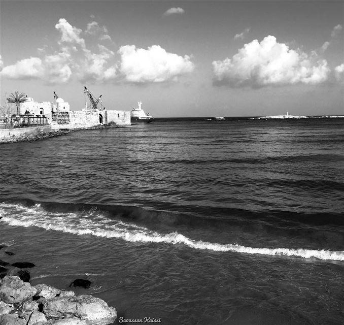 nostalgia blackandwhite monochrome sea castle clouds saida ...
