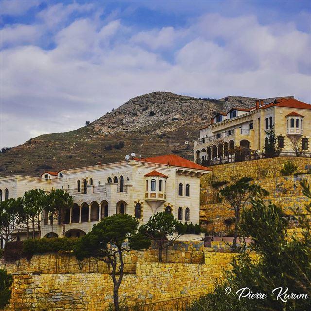lebanese twins old houses tree cloudy sky mountain colorful ... (Falougha, Mont-Liban, Lebanon)