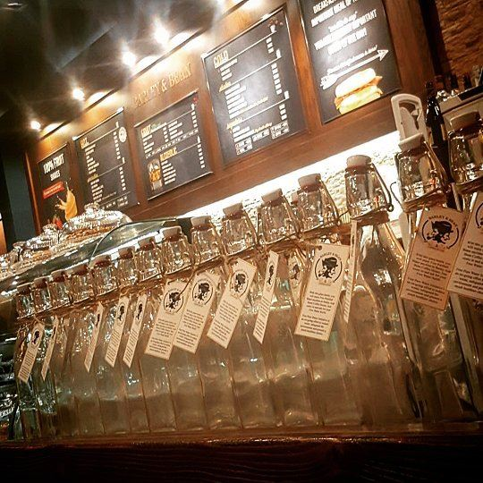 Our bottles are lined up for your takings! At Barley & Bean, free water...