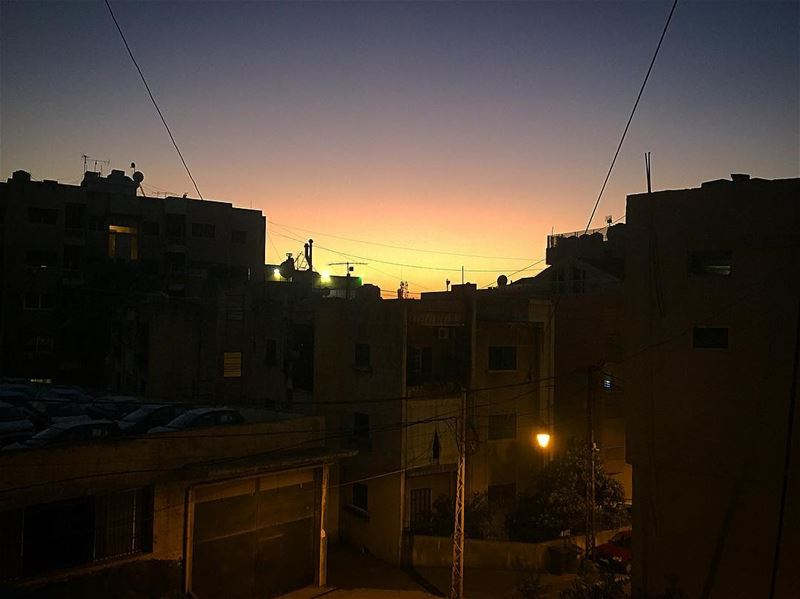 How we see the sunset from the neighborhood 💛💜 today sunset ... (Beirut, Lebanon)