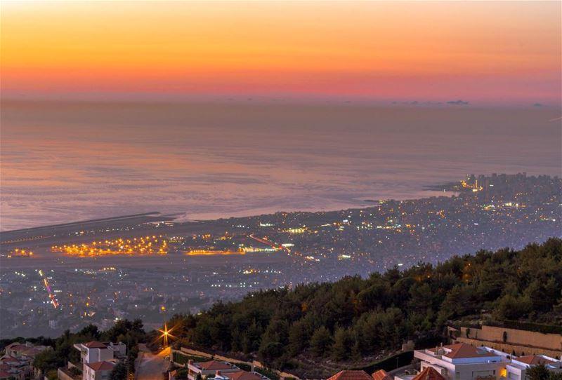 Sunset Beirut twilight landscape nature skyporn lebanon_hdr super_lebanon... (Keyfoun - كيفون)