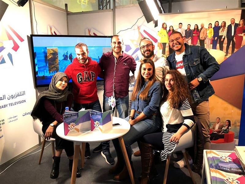 AlarabyTv Team 😊📺 Stand Fair Books writers Culture Beirut ... (Beirut Arab Book Fair - Biel)