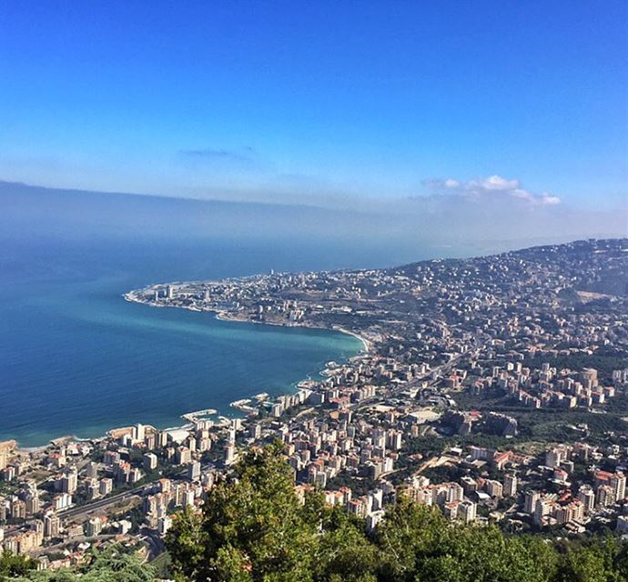 Where the Mountain Meet the Sea 🏞 livelovejounieh livelovebeirut ... (The Lady of Lebanon - Harissa)
