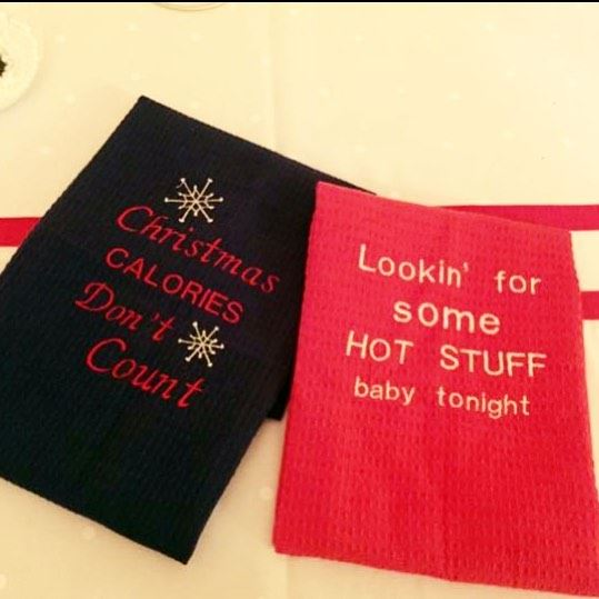 Let's bake LOVE 🎄set of kitchen towel! Write it on fabric by nid d'abeille