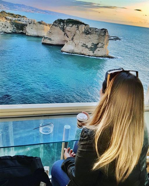 Coffee with a view! 💙 💙 By @framewithaview GoodMorningBeirut Rawché ... (Ar Rawshah, Beyrouth, Lebanon)